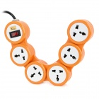 180 Degree Rotation 5-Outlet Power Strip w/ Switch - Orange + White (EU Plug / 250V / 220cm)