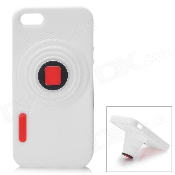 Retro Camera Style Protective Silicone Back Cover Case for Iphone 5 - White