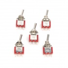 RENEW T8013 3-Pin Metal Toggle Switches - Red + Silver (5 PCS)