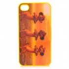 4D Dancing Mice Pattern Protective Back Case for iPhone 4 / 4S - Yellow + Brown