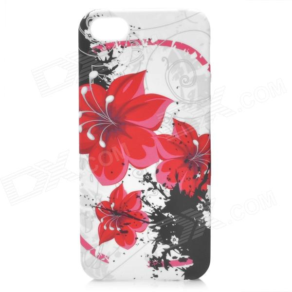 Flower Pattern Protective Silicone Back Case w/ Glossy Screen Protector for Iphone 5 - Red + White london pattern protective plastic back case w front screen protector for iphone 5 grey red