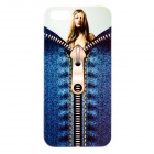 Sexy Girl Zipper Pattern Glossy TPU Back Case Cover for iPhone 5 - Blue