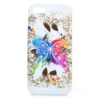 Butterfly Pattern Protective Silicone Back Case w/ Glossy Screen Protector for Iphone 5 - White