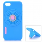 Retro Camera Style Protective Silicone Back Cover Case for Iphone 5 - Blue