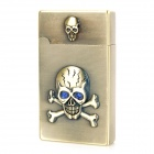 Skull Pattern Metal Butane Gas Jet Lighter - Copper
