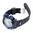 PASNEW PSE-048C Man's PU Rubber Band Quartz Analog + Digital Waterproof Wrist Watch - Black + Blue