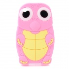 3D Cute Sea Turtle Tortoise Silicone Soft Back Case Cover for Iphone 4 / 4S - Pink + Yellow