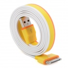 USB 2.0 Male to 30-Pin Male Flat Data / Charging Cable for iPhone 4 / 4S / iPad - Yellow (87cm)