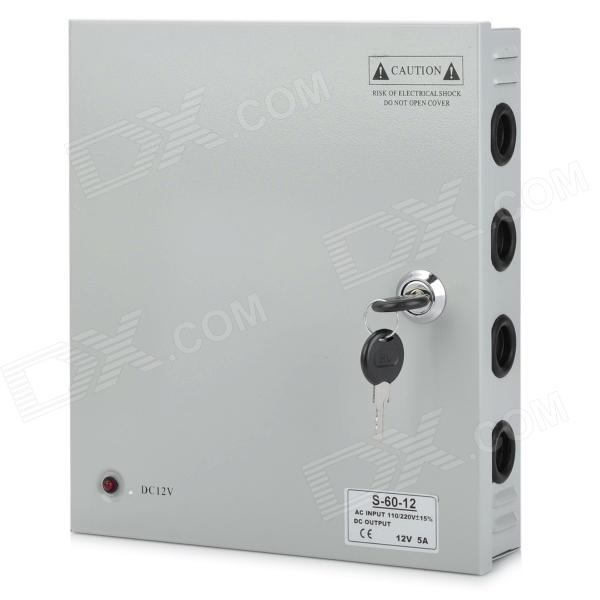 DC 12V 5A 9CH Output Switch Mode CCTV Camera Power Supply Box (AC 100~220V)
