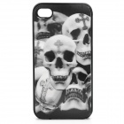 3D Cross Skeleton Style Protective Plastic Back Case for Iphone 4 / 4S - Grey