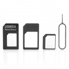 4-in-1 SIM Card Adapters Set for Iphone 5 - Black