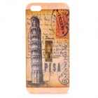 Pisa Pattern Protective Plastic Back Case w/ Front Screen Protector for Iphone 5 - Yellow