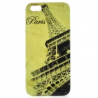Eiffel Tower Pattern Protective Plastic Back Cover Case for iPhone 5 - Light Green + Black