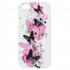 Butterflies Pattern Protective Silicone Back Cover Case w/ Front Screen Shield for Iphone 5