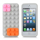 Protective Brick Style Silicone Soft Back Case for iPhone 5 - Grey + Pink + Orange