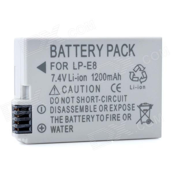 Ruibo LP-E8 Replacement 7.4V 1200mAh Li-ion Battery for Canon 550D / 600D - Grey original brand new lp e8 lpe8 battery for canon eos 550d 600d 650d 700d kiss x4 x5 x6i x7i rebel t2i t3i t4i t5i lc e8e camera