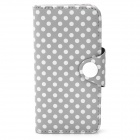 Polka Dot Pattern Protective PU Leather Case for Iphone 5 - Grey + White
