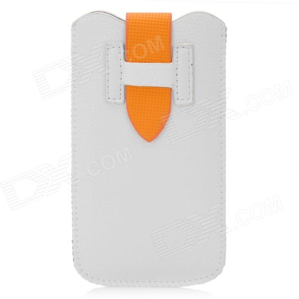 Protective PU Leather Case w/ Strap for Iphone 5 - White