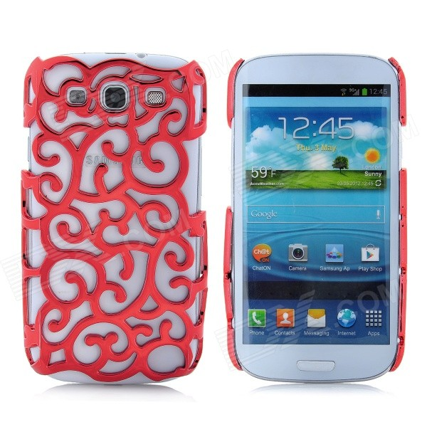 Protective Palace Flower Pattern Hollow Plastic Case for Samsung i9300 Galaxy S3 - Red cm001 3d skeleton pattern protective plastic back case for samsung galaxy s4