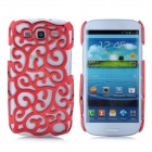 Protective Palace Flower Pattern Hollow Plastic Case for Samsung i9300 Galaxy S3 - Red
