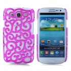 Protective Palace Flower Pattern Hollow Plastic Case for Samsung i9300 Galaxy S3 - Deep Pink