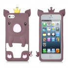 Cute Cartoon Pig Style Protective Silicone Back Case for iPhone 5 - Brown