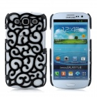Protective Palace Flower Pattern Hollow Plastic Case for Samsung i9300 Galaxy S3 - Black