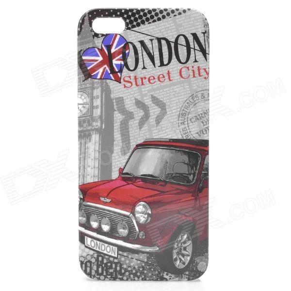 London Pattern Protective Plastic Back Case w/ Front Screen Protector for Iphone 5 - Grey + Red london pattern protective plastic back case w front screen protector for iphone 5 grey red
