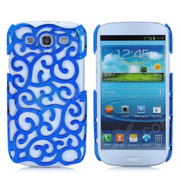 Protective Palace Flower Pattern Hollow Plastic Case for Samsung i9300 Galaxy S3 - Blue cm001 3d skeleton pattern protective plastic back case for samsung galaxy s4
