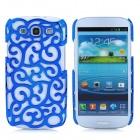 Protective Palace Flower Pattern Hollow Plastic Case for Samsung i9300 Galaxy S3 - Blue