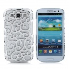Protective Palace Flower Pattern Hollow Plastic Case for Samsung i9300 Galaxy S3 - Silver