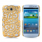 Protective Palace Flower Pattern Hollow Plastic Case for Samsung i9300 Galaxy S3 - Golden
