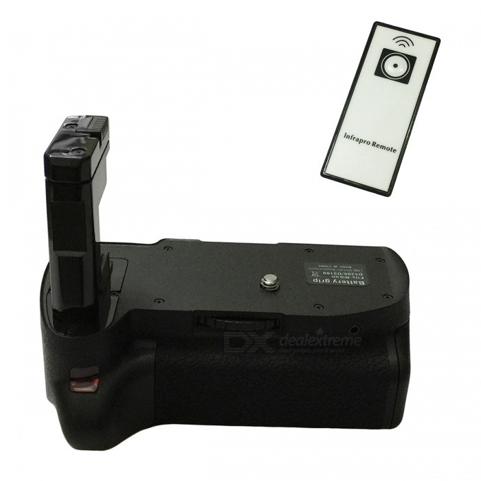 Multi Vertical External Battery Grip Holder w/ IR Remote Control for Nikon D5100 - Black
