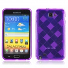 KS-P004 Checked Pattern Protective TPU Back Case for Samsung Galaxy Note i9220 - Purple
