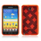 KS-P004 Checked Pattern Protective TPU Back Case for Samsung Galaxy Note i9220 - Orange