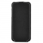 Lychee Pattern Protective PU Leather Case for iPhone 5 - Black