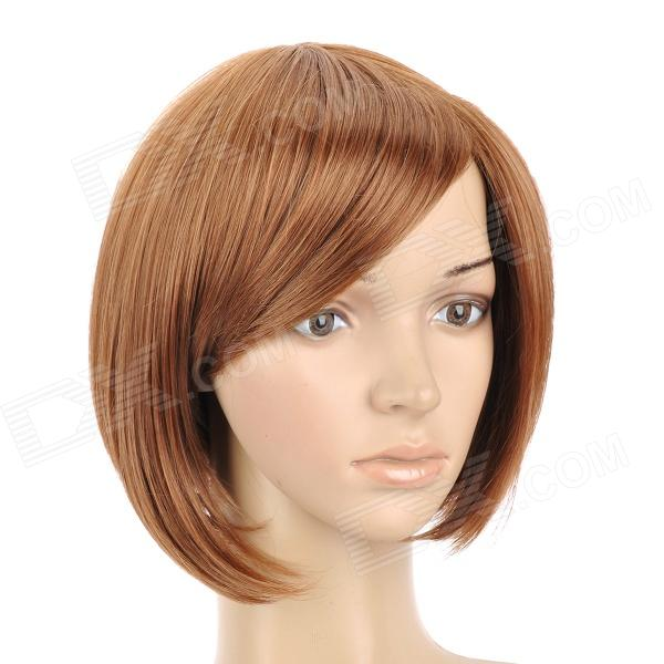9974A 27/30 Fashion Lady's Diagonal Bangs Short Natural Straight Hair Wig - Golden cheap long straight human hair wig with full bangs silky straight brazilian full lace wig with bangs for fashion women