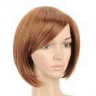 9974A 27/30 Fashion Lady's Diagonal Bangs Short Natural Straight Hair Wig - Golden