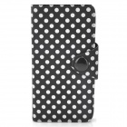 Polka Dot Pattern Protective PU Leather Case for Iphone 5 - Black + White