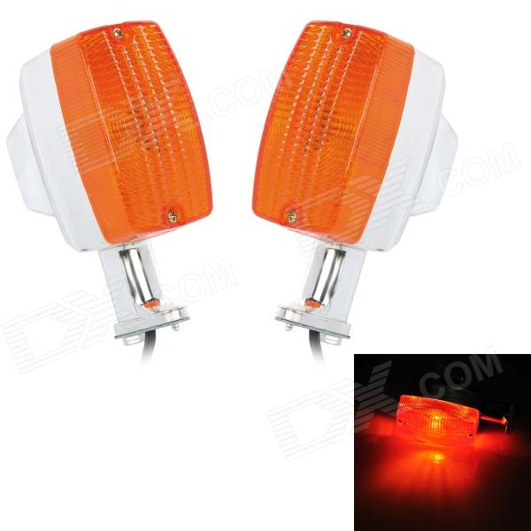 1W 8lm Motorcycle Halogen Warm White Light GS Steering Lamp - Orange + Silver (2 PCS / 12V)