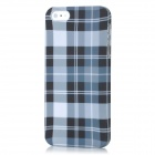 Grid Pattern Protective ABS zurück Fall für iPhone 5 - White + Black + Blue