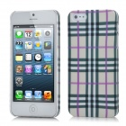 Grid Pattern Protective ABS Back Case for iPhone 5 - Purple + Grey + White