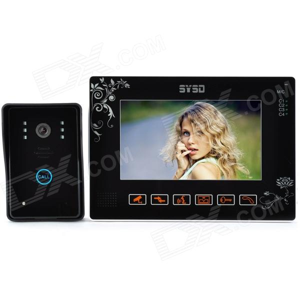 SY901MJ11 9 TFT LCD Color Video Door Phone w/ Touch Pad / IR Night Vision - Black wired video door phone new 7inch color tft lcd monitor screen video doorphone touch button outside panel of video intercom black