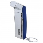 Stainless Steel Windproof Dual Flame Butane Gas Lighter + Tool - Silver + Blue