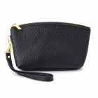 Fashion PU Leather Wallet Coin Pouch w/ Hand Strap - Black