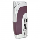 Multifunction Stainless Steel Windproof Butane Gas Lighter / Opener - Silver + Purple