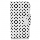 Polka Dot Pattern Protective PU Leather Flip-Open Case for iPhone 5 - White + Black