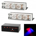 0.6W 6-LED Red / Blue Light Emergency Vehicle Strobe Lamp for Front Grille / Deck (12V)