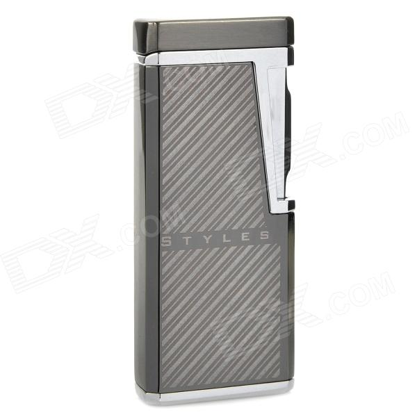 Diagonal Stripes Pattern Electronic Sensor Windproof Butane Gas Lighter - Grey (1 x LR44) scorpion pattern windproof dual flame butane gas lighter grey