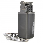Mini Grinding Wheel Style Zinc Alloy Butane Gas Lighter w/ Keychain - Silver + Black